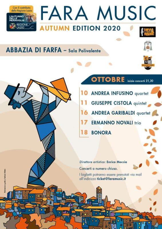 Apertura di Andrea Infusino quartet per il Fara Music Festival – autumn edition – sabato 10 ottobre