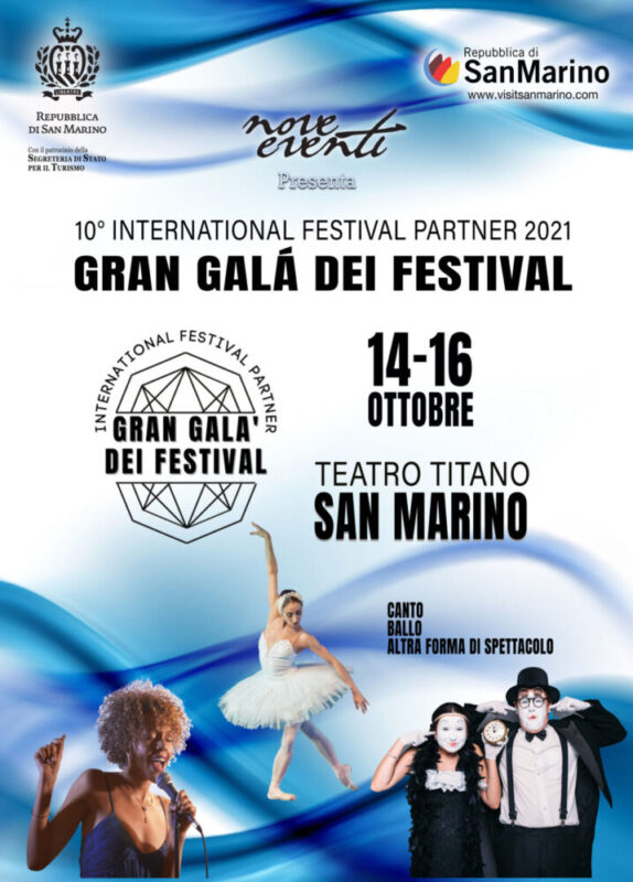 ANNUNCIATA LA GIURIA PER L'INTERNATIONAL FESTIVAL PARTNER, GRAN GALÀ DEI FESTIVAL  DAL 14 AL 16 OTTOBRE PRESSO IL TEATRO TITANO (SAN MARINO)